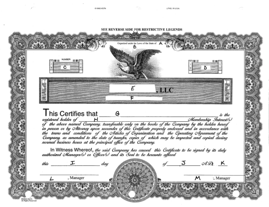 LLC Certificate Example